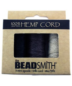 CD6310 = Hemp Cord Neutral Colors 3pk MINI-SPOOLS .55mm 10lb TEST