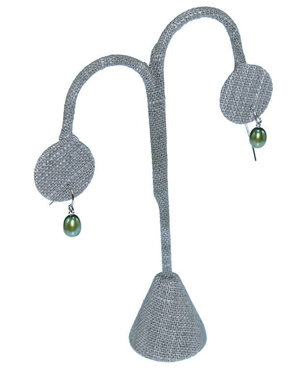 DER7241 = Grey Linen Earring Display 5-1/4'' high  (Pkg of 3)