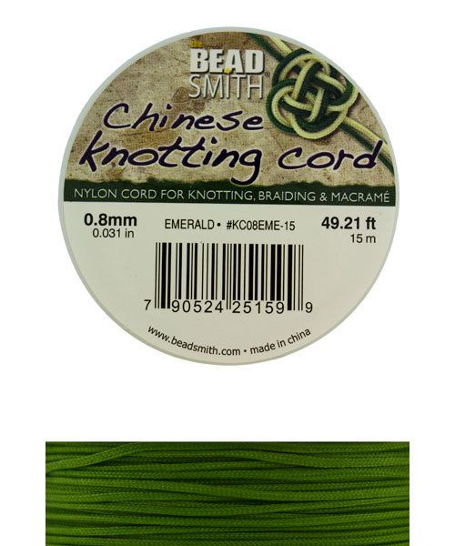 CD7505 = Chinese Knotting Cord 0.8mm EMERALD 15 Meter Spool
