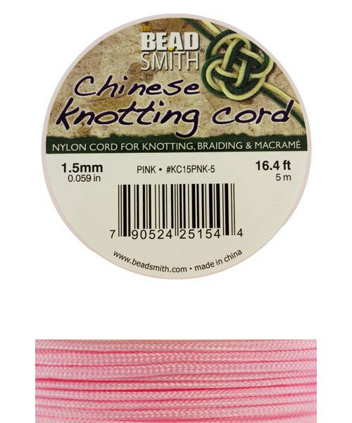 CD7508 = Chinese Knotting Cord 0.8mm PINK 15 Meter Spool