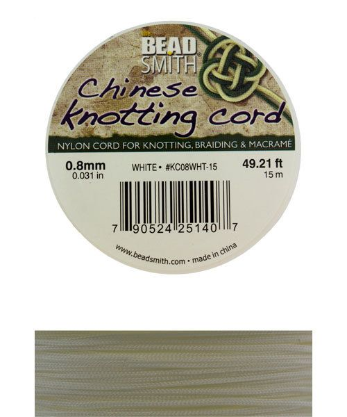CD7513 = Chinese Knotting Cord 0.8mm WHITE 15 Meter Spool