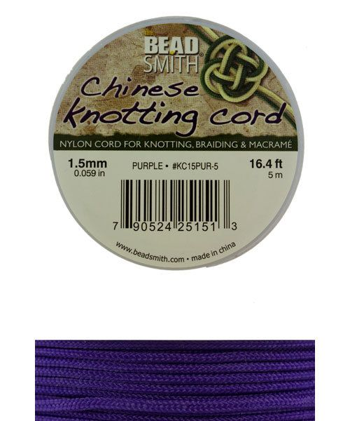 CD7559 = Chinese Knotting Cord 1.5mm PURPLE 5 Meter Spool