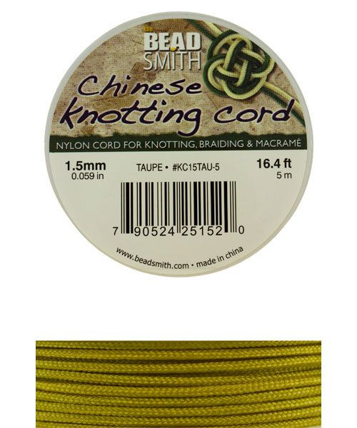 CD7561 = Chinese Knotting Cord 1.5mm TAUPE 5 Meter Spool