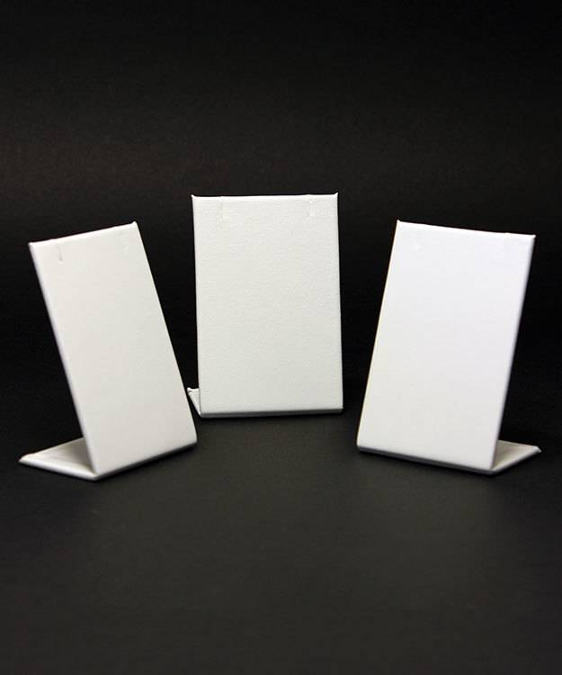 DER601 = Earring or Pendant Display - White Leatherette (Pkg of 3)