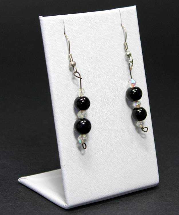 DER601 = Earring or Pendant Display - White Leatherette (Pkg of 3)