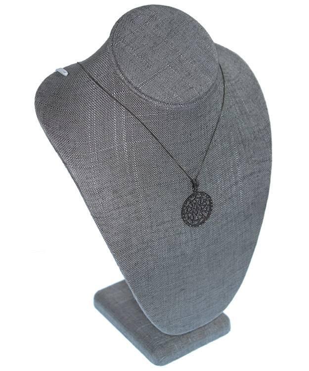 DCH7892 = Grey Linen Necklace Bust 7-1/2'' wide x 11'' high