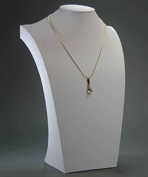 DCH6108 = White Leatherette Necklace Bust 17-3/4'' high x 11'' wide