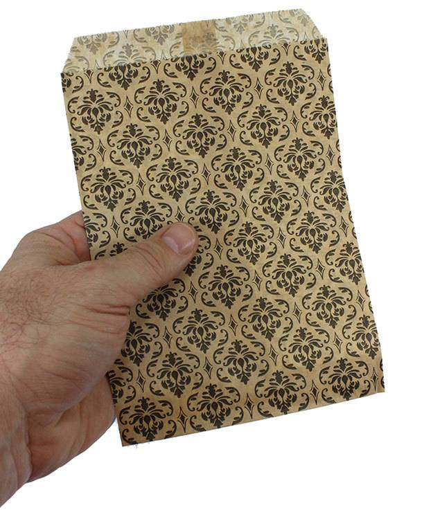 DBG1173 = Paper Gift Bag Black & Gold Damask Pattern 5'' x 7'' (Bundle of 100)