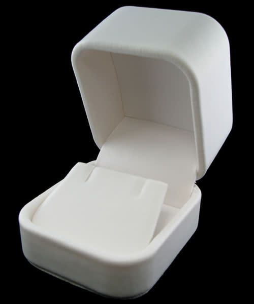 DBX5841W = White Leatherette Round Corner Earring Box (EACH)