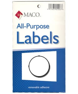 DTA6404 = Round White Adhesive Labels 5/16'' dia. (Pkg of 1000)