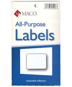 Maco Labels DTA6428 = Rectangular White Adhesive Labels 3/4'' x 1'' (Pkg of 1000)