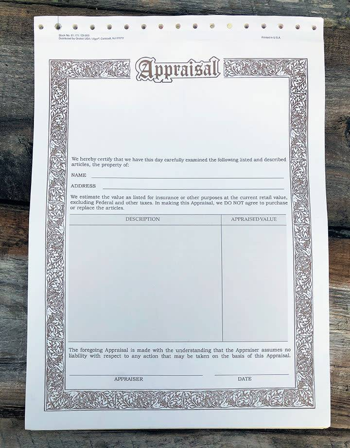 61.171 = Appraisal Forms, 3 Part Carbonless (Pkg of 50)