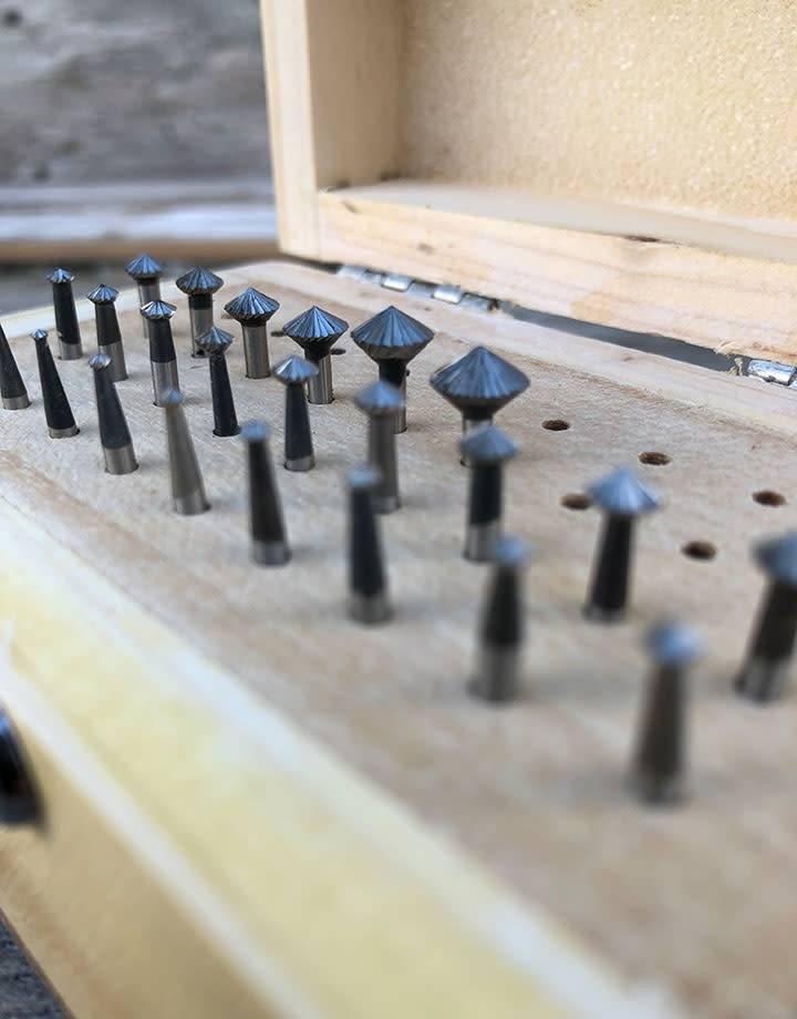 Spearhead Burs 19.316 = 45deg Bearing Bur Set 24pcs (1.1 to 8.0mm) HS Steel