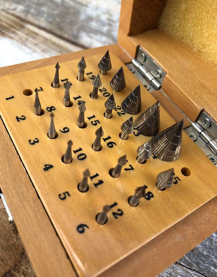 Spearhead Burs 19.325 = Cone Bur Set 23pcs (1.1 to 11.1mm) HS Steel
