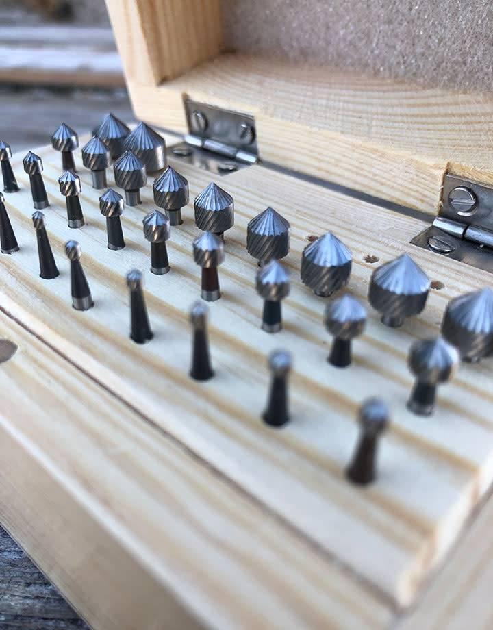 19.333 = Setting Bur Set 29pcs (0.9 to 8.0mm) HS Steel