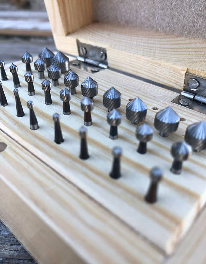 Spearhead Burs 19.333 = Setting Bur Set 29pcs (0.9 to 8.0mm) HS Steel