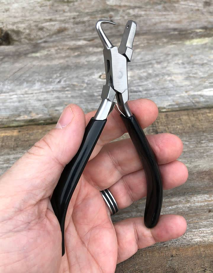 PL1381 = DIMPLE PLIERS with HOOKED JAW 1mm