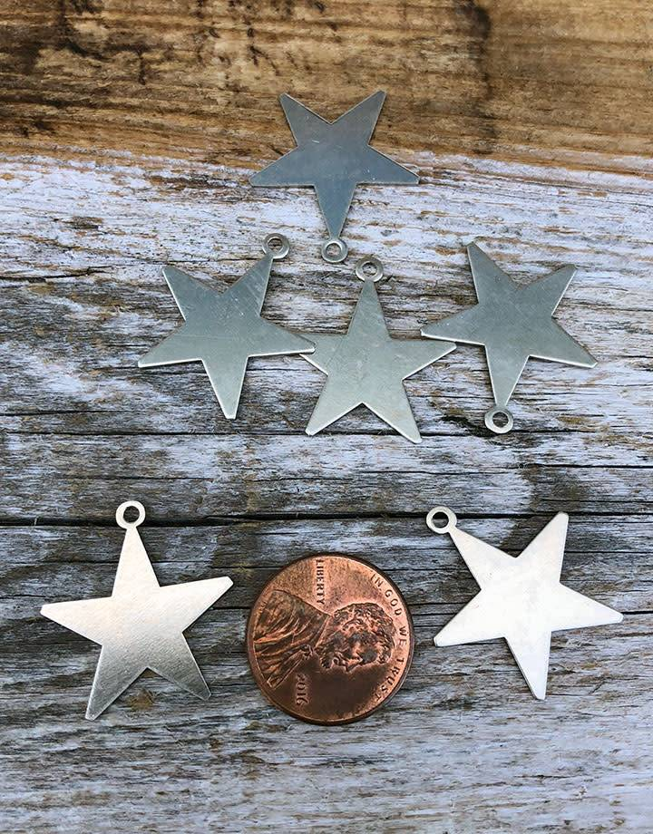 MSN53024 = Nickel Silver Shape - STAR with ONE RING 24ga  7/8''  (Pkg of 6)