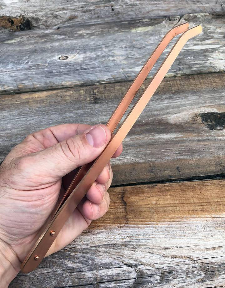 57.052 = Copper Tongs with Curved Tips