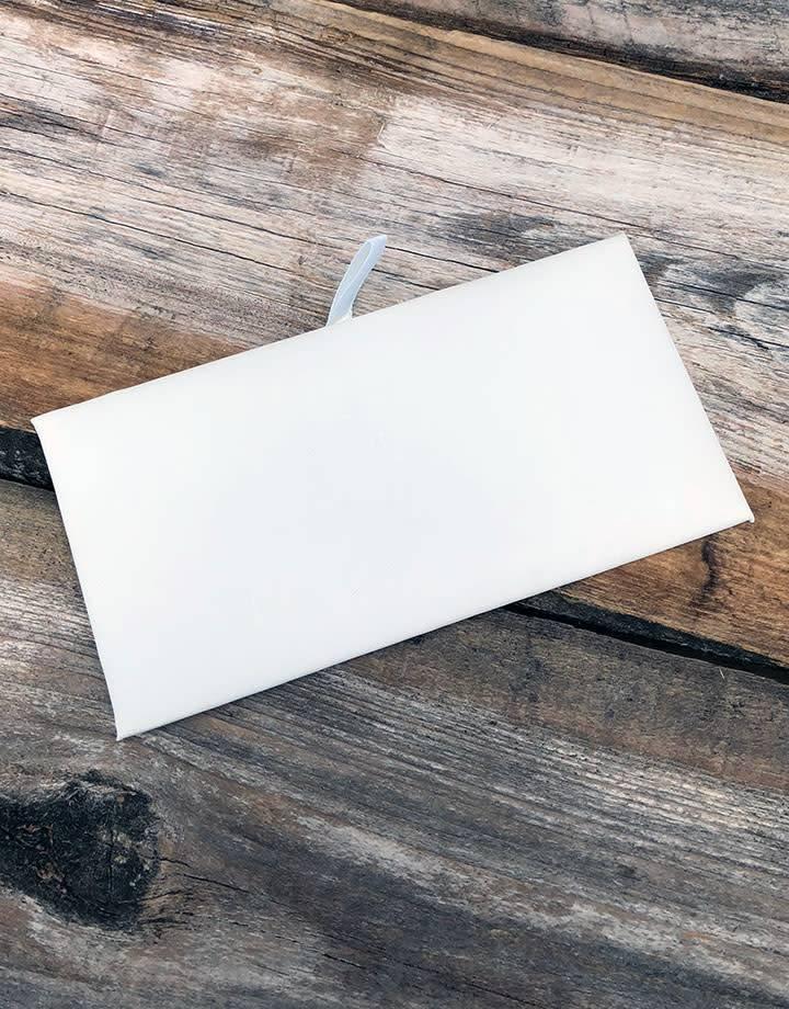 "DIS6935 = White Leatherette Rectangular Display Pad 6"" x 3"" (Pkg of 3)"