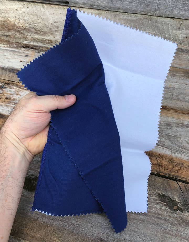 PS120 = Polishing Cloth 12'' x 15'' - 2 Part Blue & White