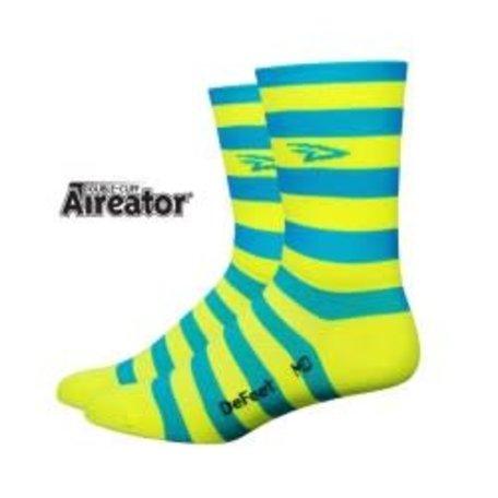 "DEFEET Aireator D-logo 4"" Stripers Sock Blue w/ HiViz Yellow S"