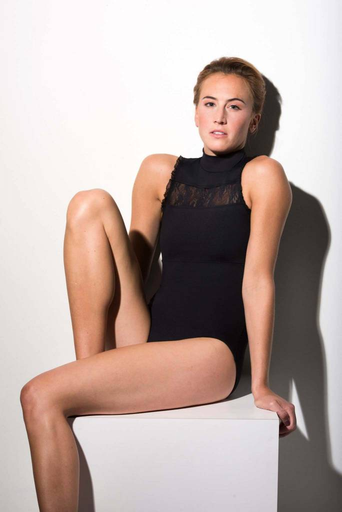 AinslieWear Rebecca Leotard with Kara Lace in Black
