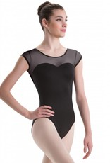 Motionwear Mesh Cap Sleeve Leotard with Sweetheart Cut