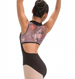 Motionwear Zip Front - Mock Turtle Neck Leotard with Open Back