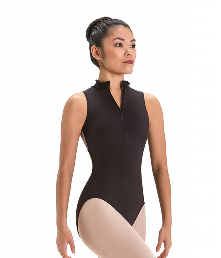 Motionwear Zip Front - Mock Turtle Neck Leotard with Open Back