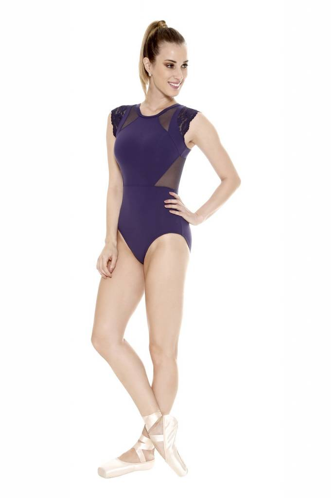 So Danca Lace/Mesh Tank Leotard with  Keyhole back