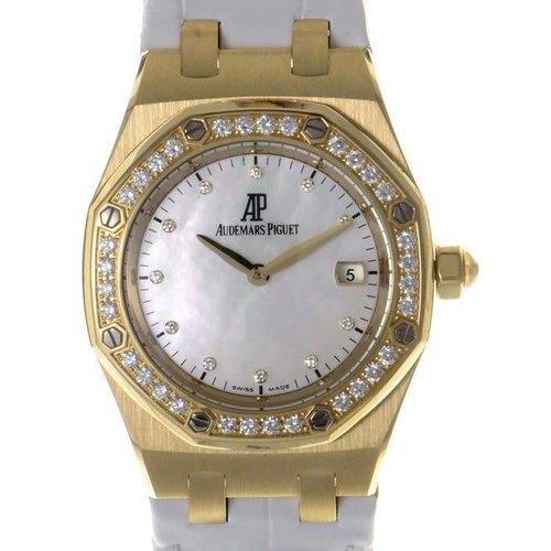 Audemars Piguet Audemars Piguet 67601BA.ZZ.D012CR.03 Ladies Royal Oak 18K Yellow Gold / Diamonds MOP White Strap