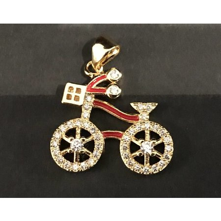 Bike Pendant Micro Pave CZ Stainless Steel
