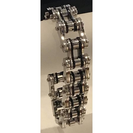 "Bike Chain Bracelet Silver and Black 3/4"""