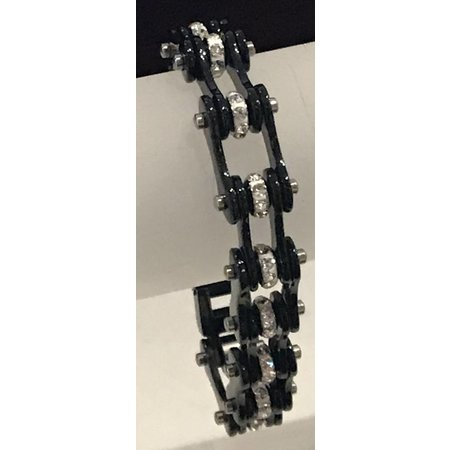 Bike Chain Bracelet Black Silver with Crystals