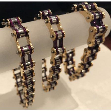"""Bike Chain Bracelet Purple Gold Silver 1/2"""" 9.5"""""""