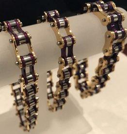 """Bike Chain Bracelet Purple Gold Silver 1/2"""" 9"""""""