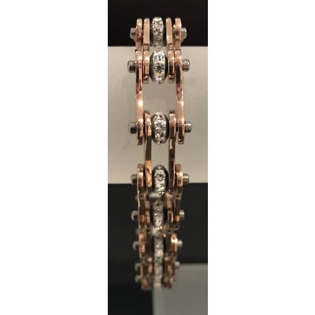 "Bike Chain Bracelet Rose Gold Silver with Crystals 1/2"" 8.25"