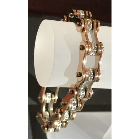 "Bike Chain Bracelet Rose Gold with Crystals 1/2"" 7.75"