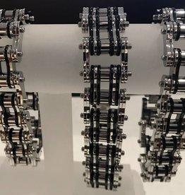 "Bike Chain Bracelet Silver Black 1"""