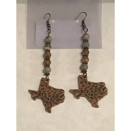 Earrings Copper Texas with Jasper Beads