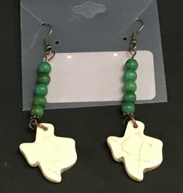 LoneStar Mary Earrings Texas Howlite with Green Turquoise