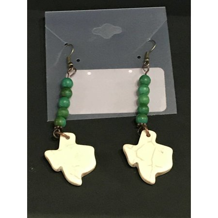 Earrings Texas Howlite with Green Turquoise
