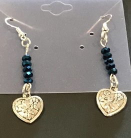 LoneStar Mary Earrings Heart with Blue Crystals