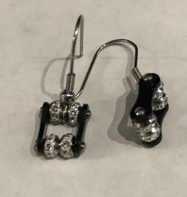 Bike Chain Earrings Black with Crystals