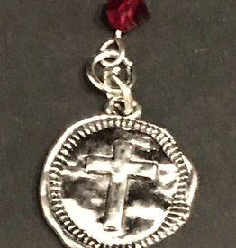 LoneStar Mary Pendant Cross with Red Crystal