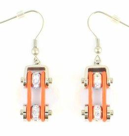 Bike Chain Earrings Orange with Crystals