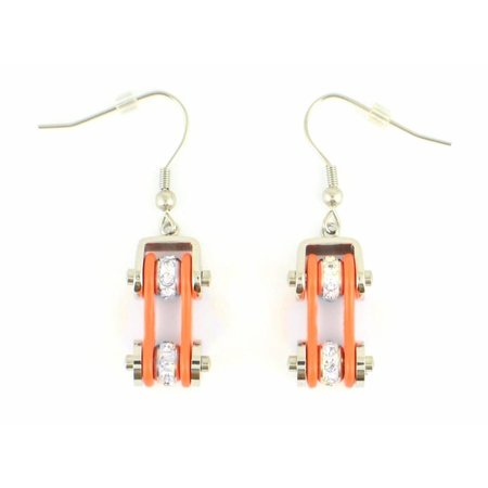 Bike Chain Earrings Orange with Crystals