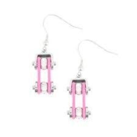 Bike Chain Earrings Pink with Crystals