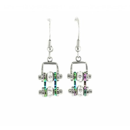 Bike Chain Earrings Rainbow with Crystals